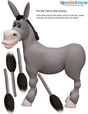 Donkey clipart pin the tail on donkey. Free party games to