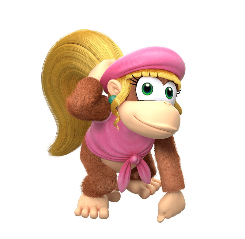 Donkey kong country tropical freeze family png. Dixie play nintendo