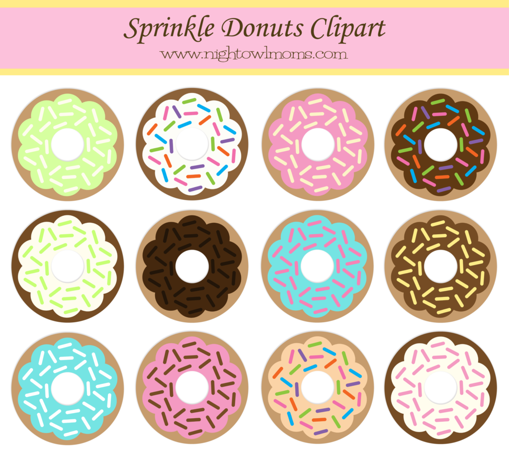 Donut clipart dount. Free sprinkle pinterest night