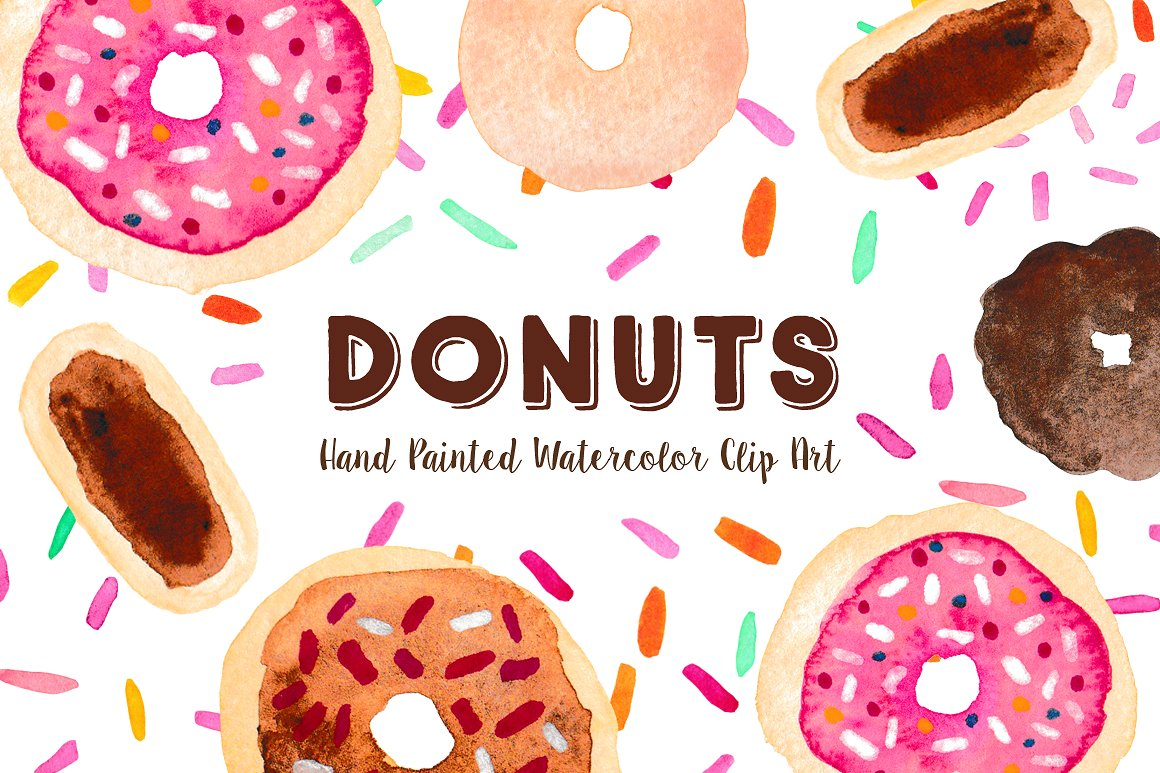 Donut clipart word. Watercolor clip art graphics