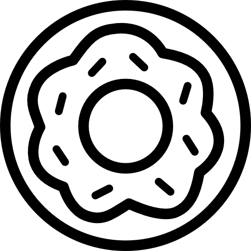 Donut outline png. Sweet dessert with a
