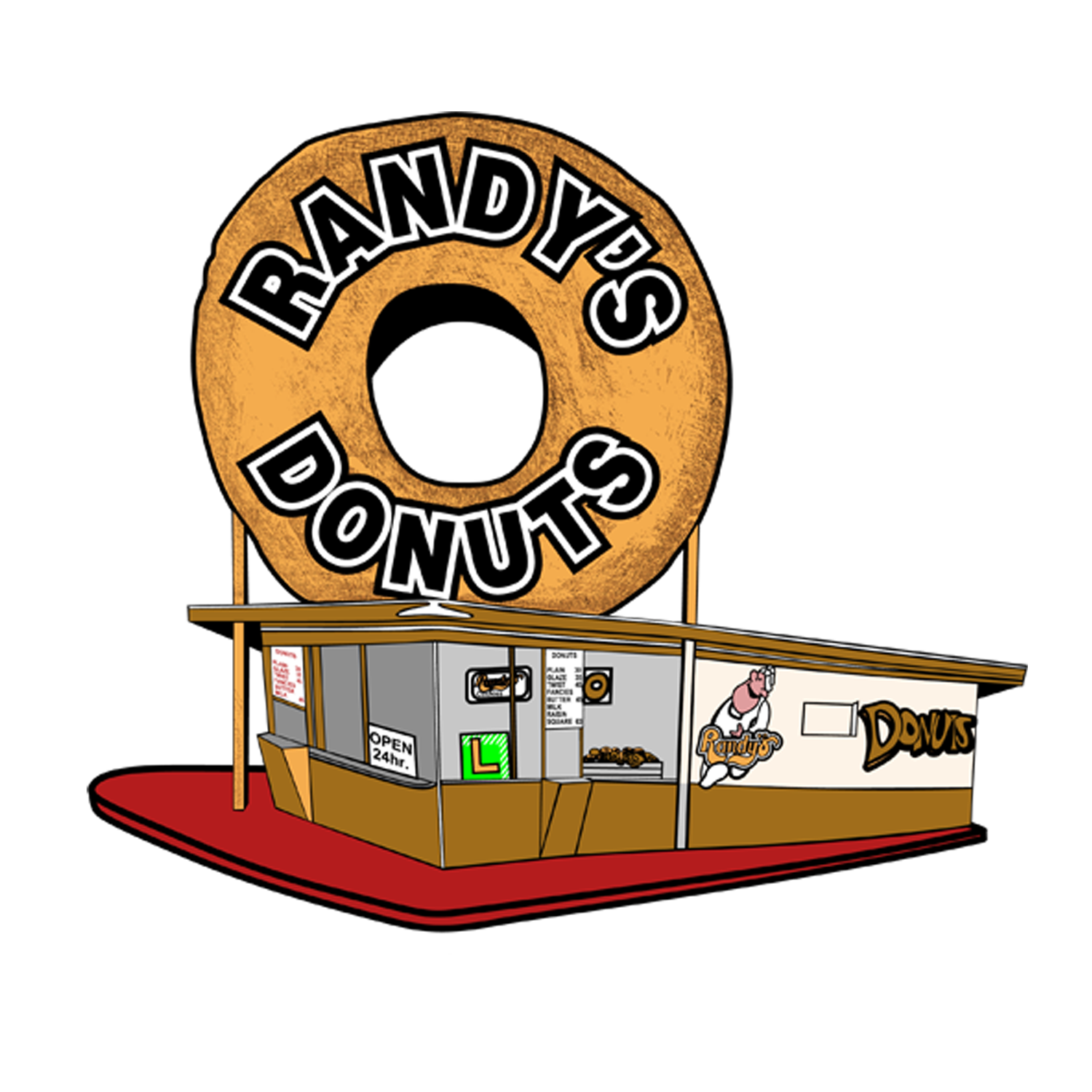 Donuts vector donut box. Randy s