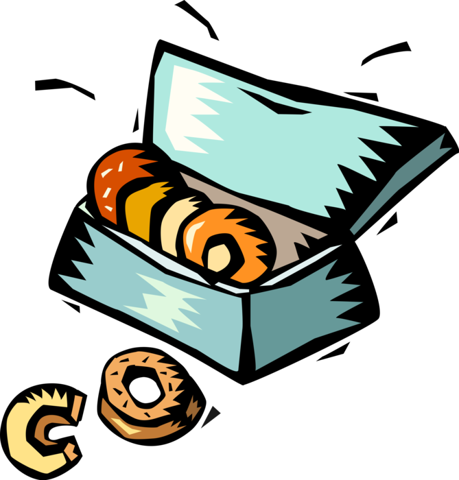 Donuts vector donut box. Fried dough image illustration