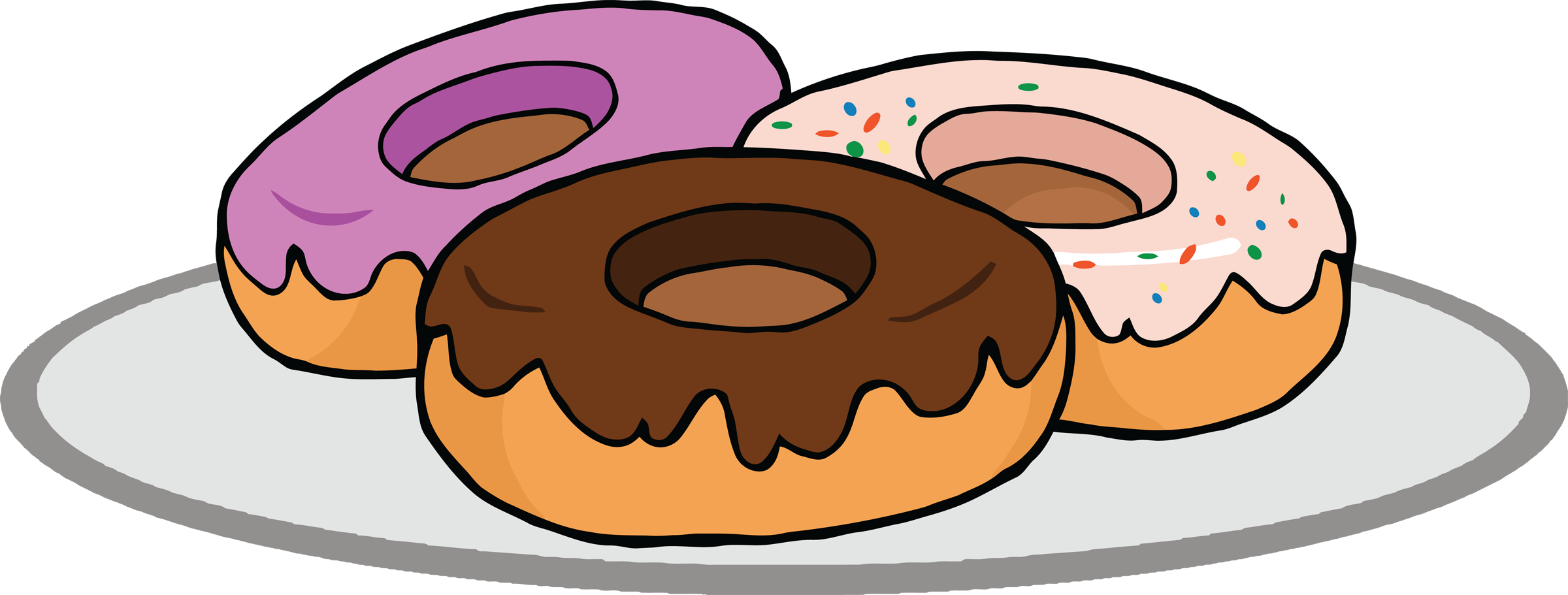 Donuts vector donut box. Collection of clipart