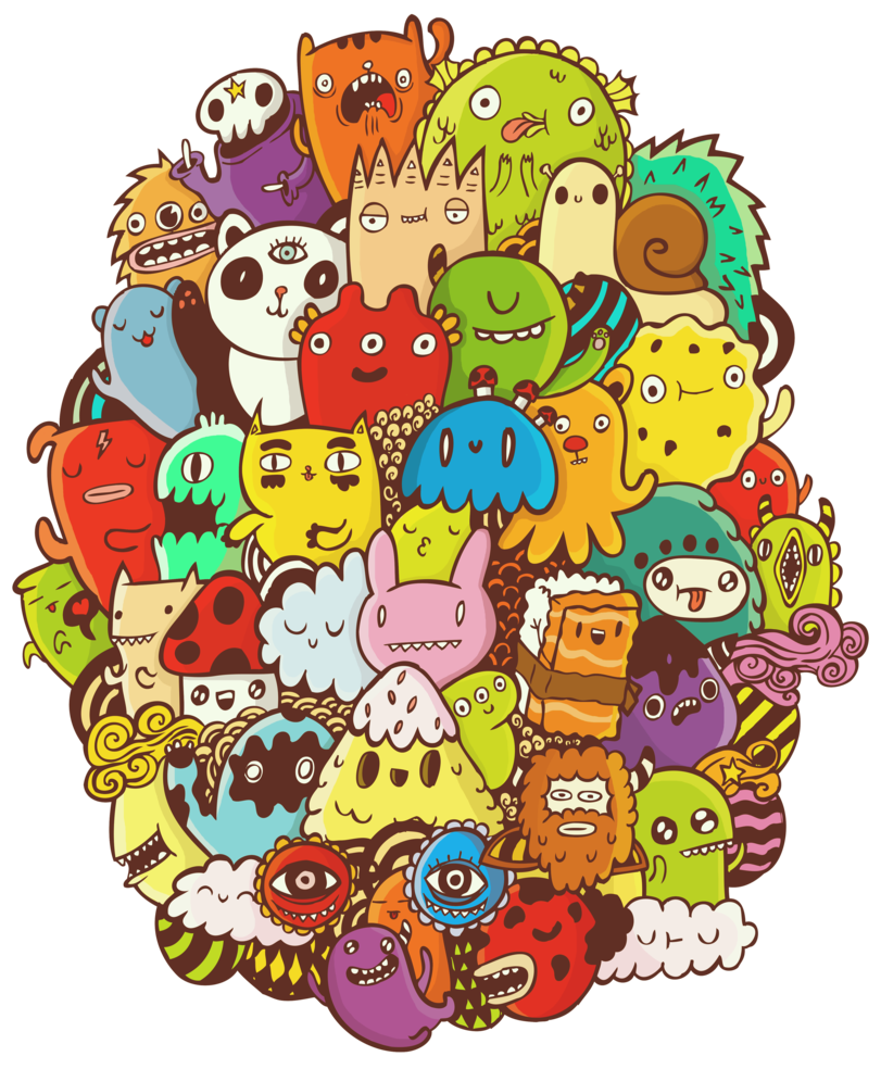 Doodle art png. Colored by doodlebros on