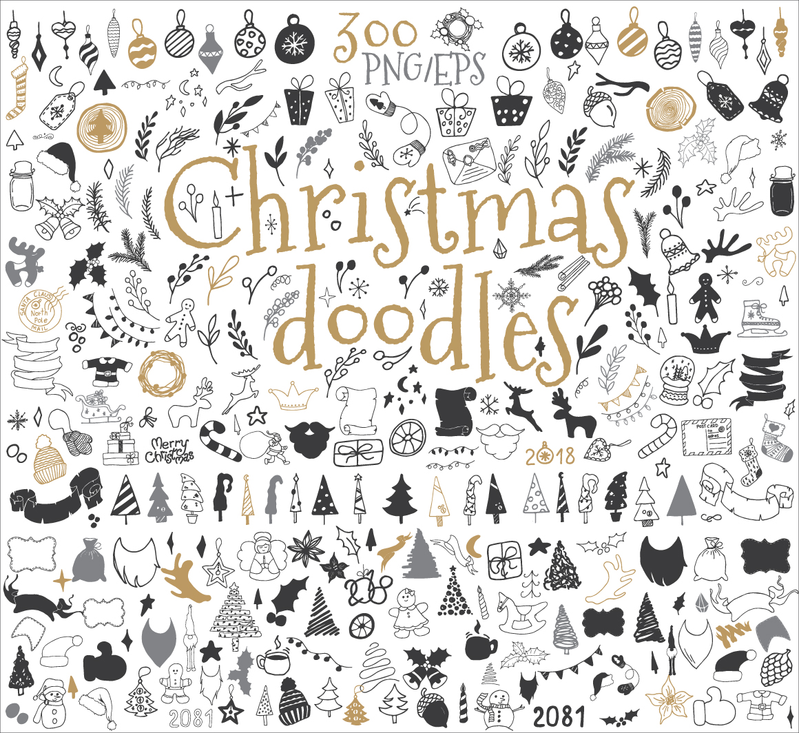 Doodle clipart graphic design. Christmas icons and