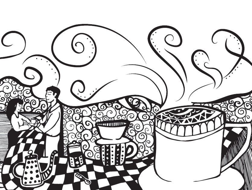 Coffe drawing art. Organic coffee with character