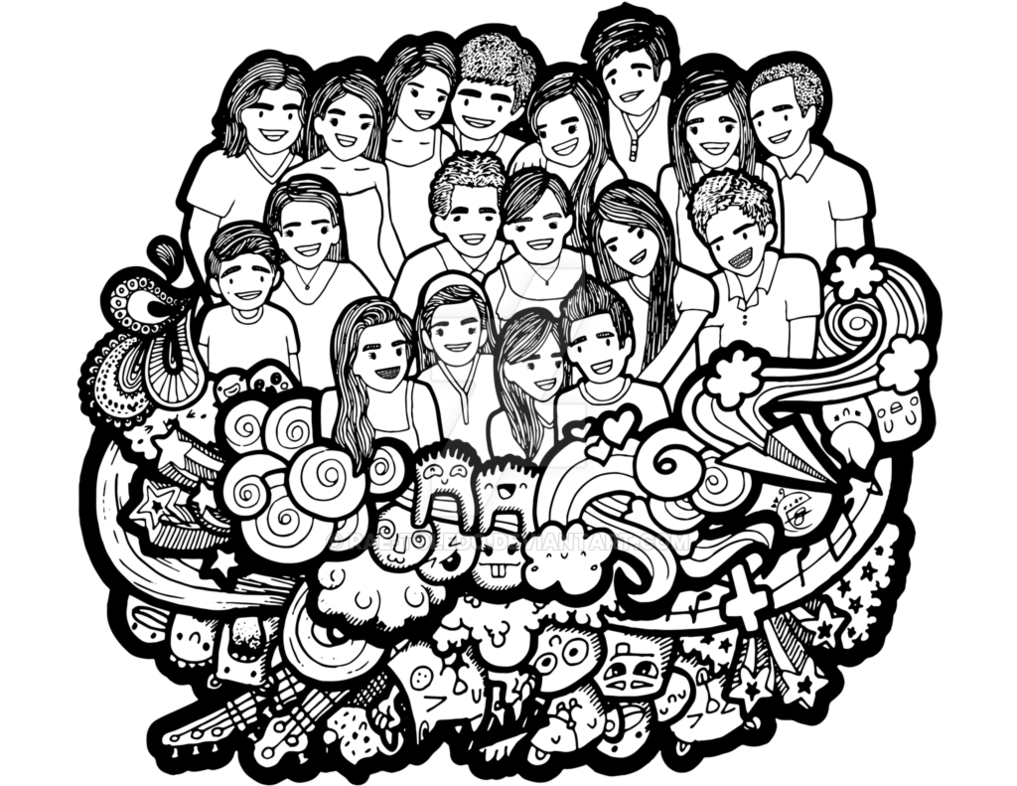 Drawing family doodle. Collection of one