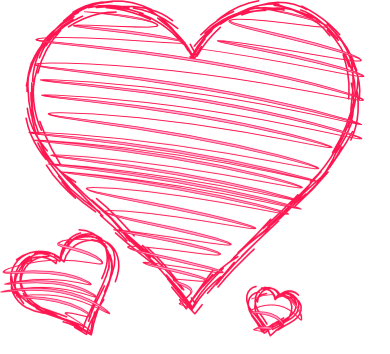 Doodle hearts png. Pink red handdrawn pen