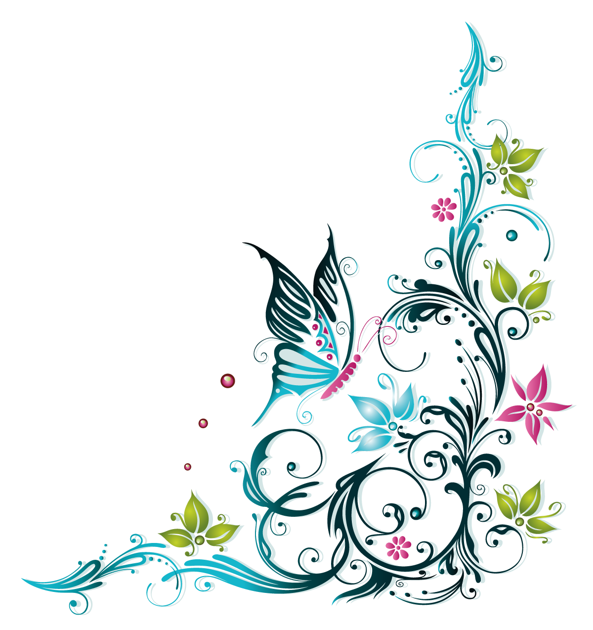 Doodles vector summer. Butterfly ornaments floral tangle