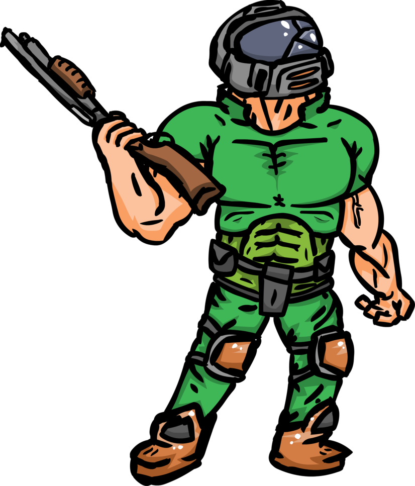 Doom drawing doomguy. Request by glowner on