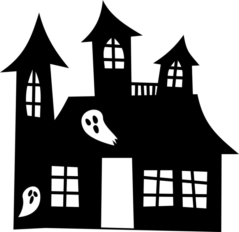 Haunted house ghost drawing. Cottage clipart silhouette clip black and white download
