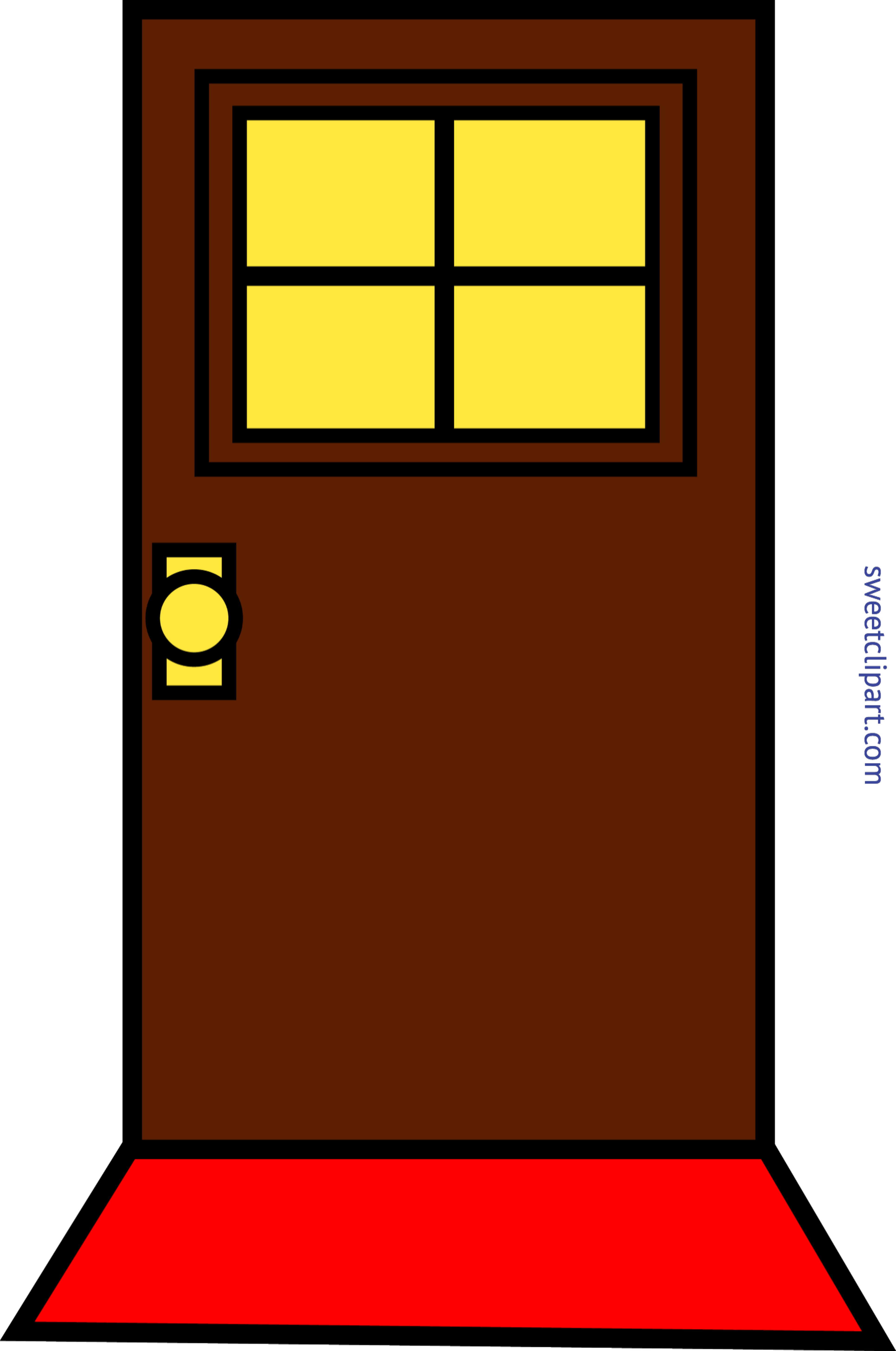 Door clipart rectangle object. Domestic simple brown clip