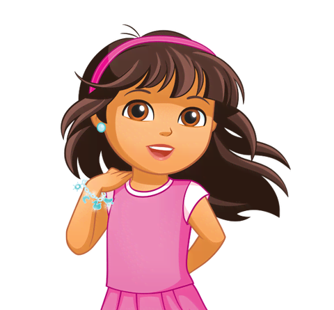 Dora transparent red hair. Meet the characters