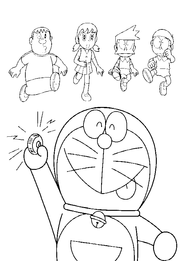 Doraemon drawing line. Pressing button coloring page
