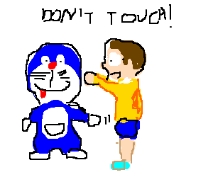Doraemon drawing nobita. Touching s tra la