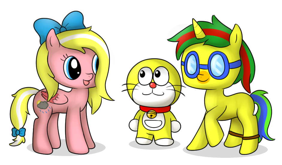 Doraemon drawing team. Cm and ponies by