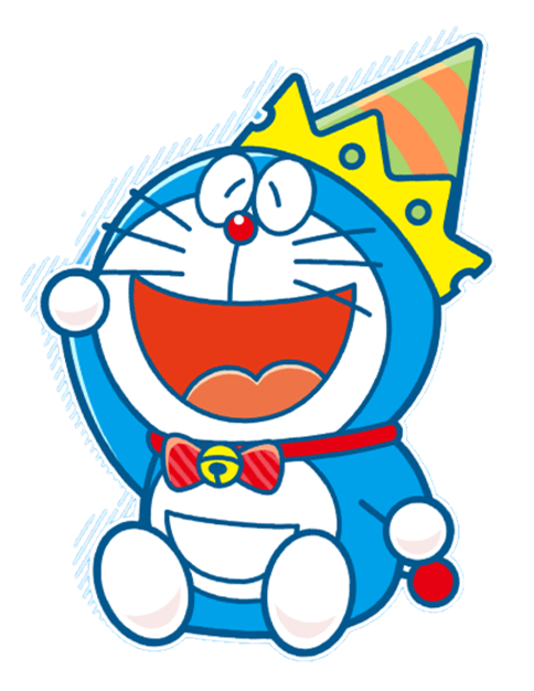 Doraemon transparent happy. Cute party partyhat colorful