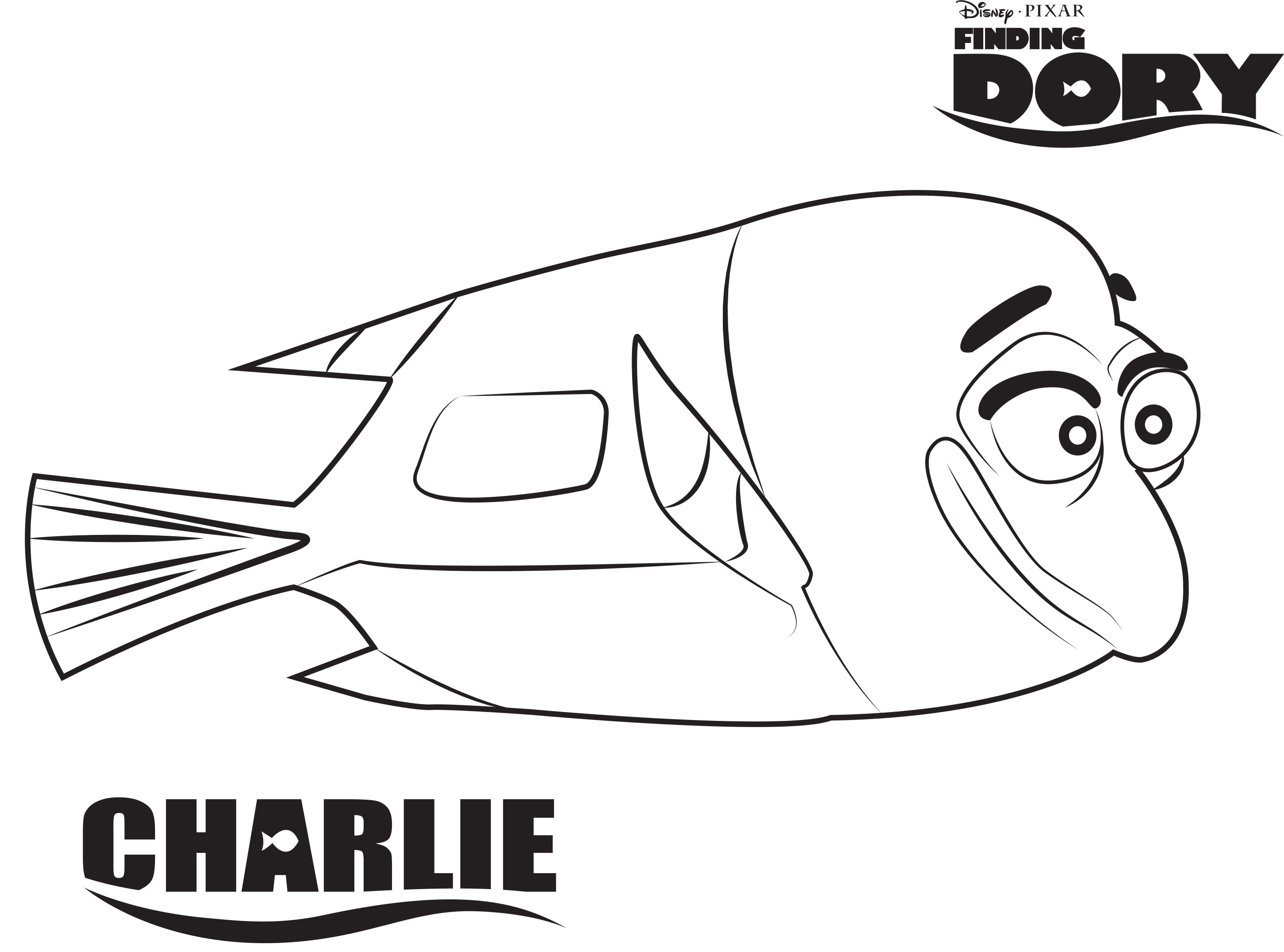 Dory clipart black and white. Finding nemo coloring pages