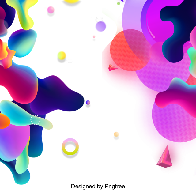 Drawing fluid colour. Colorful flat geometric color