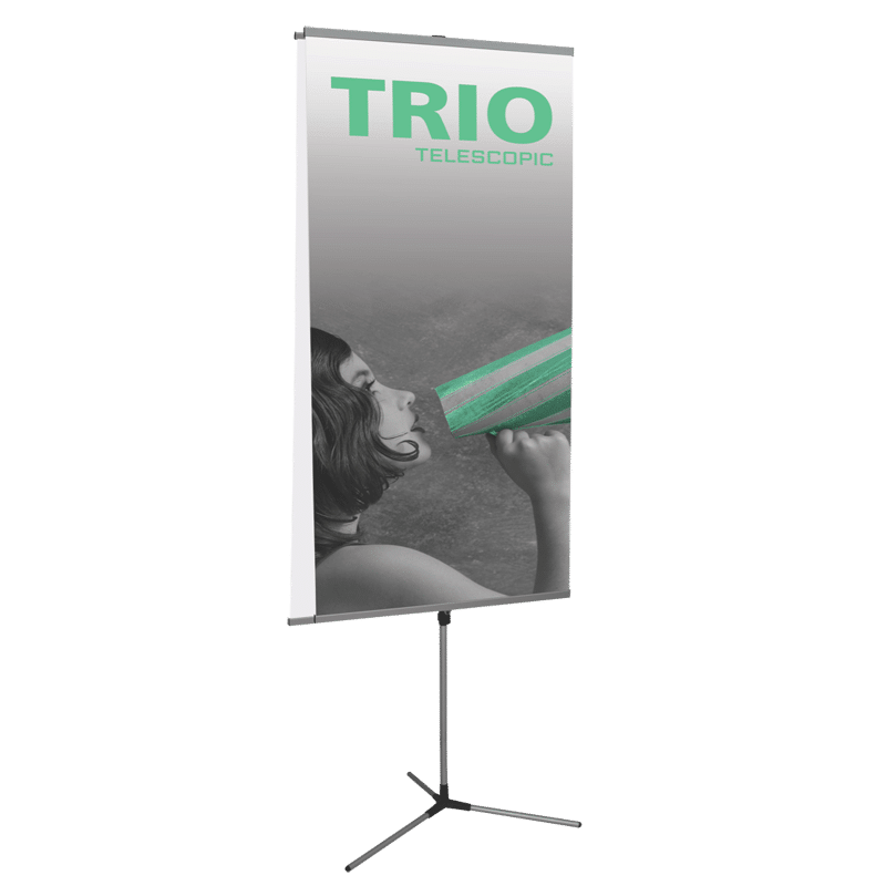 Double banner png. Trio telescopic stand display