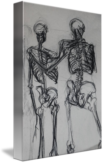 Double drawing artwork. Skeleton study by tiffany