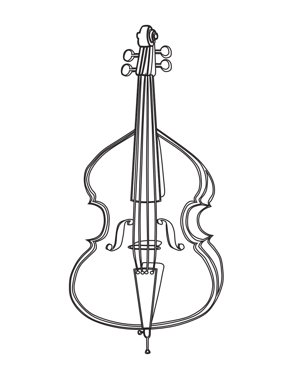 Double drawing black and white. Cello violin bass clip