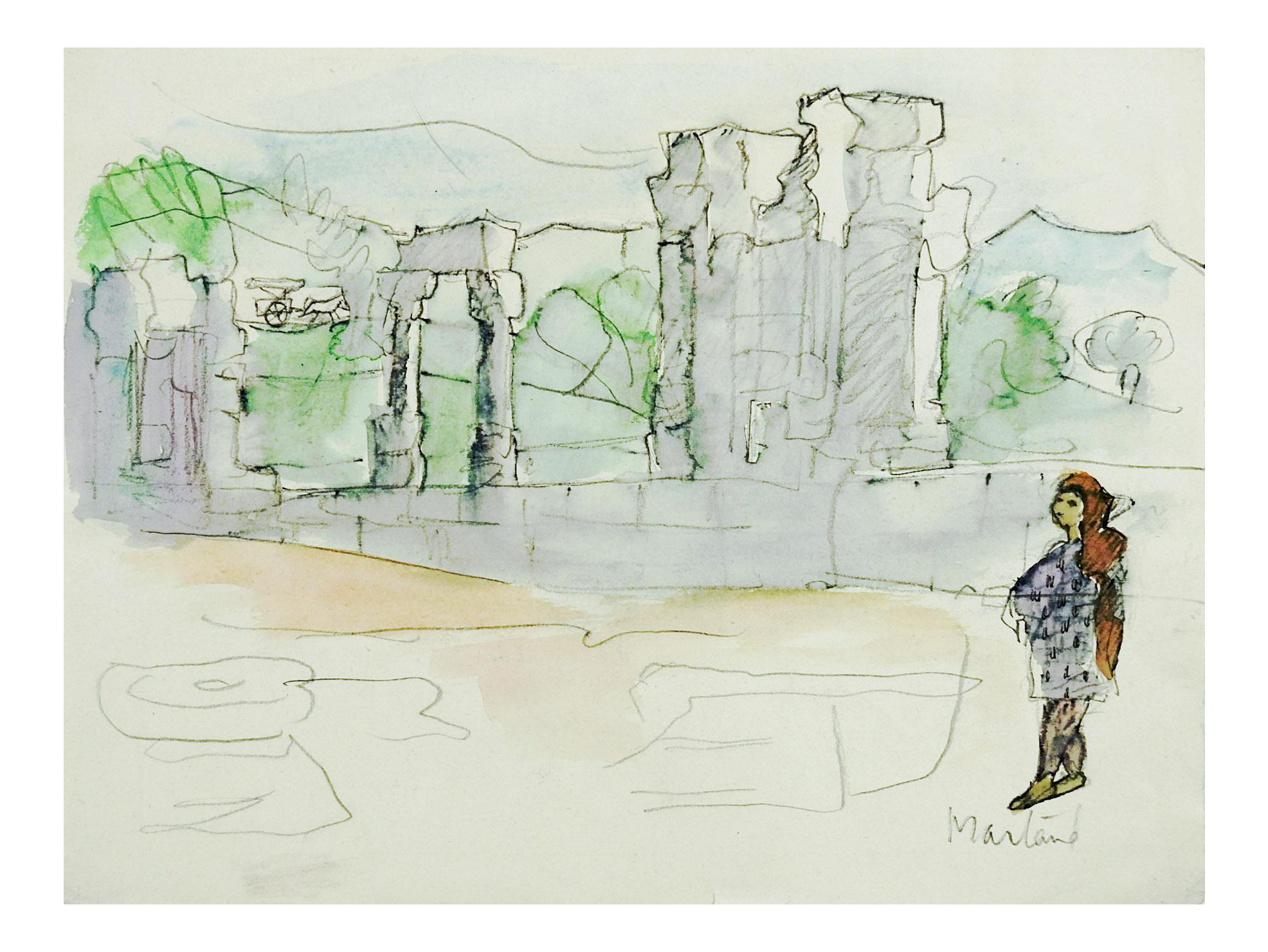 ruins drawing watercolor
