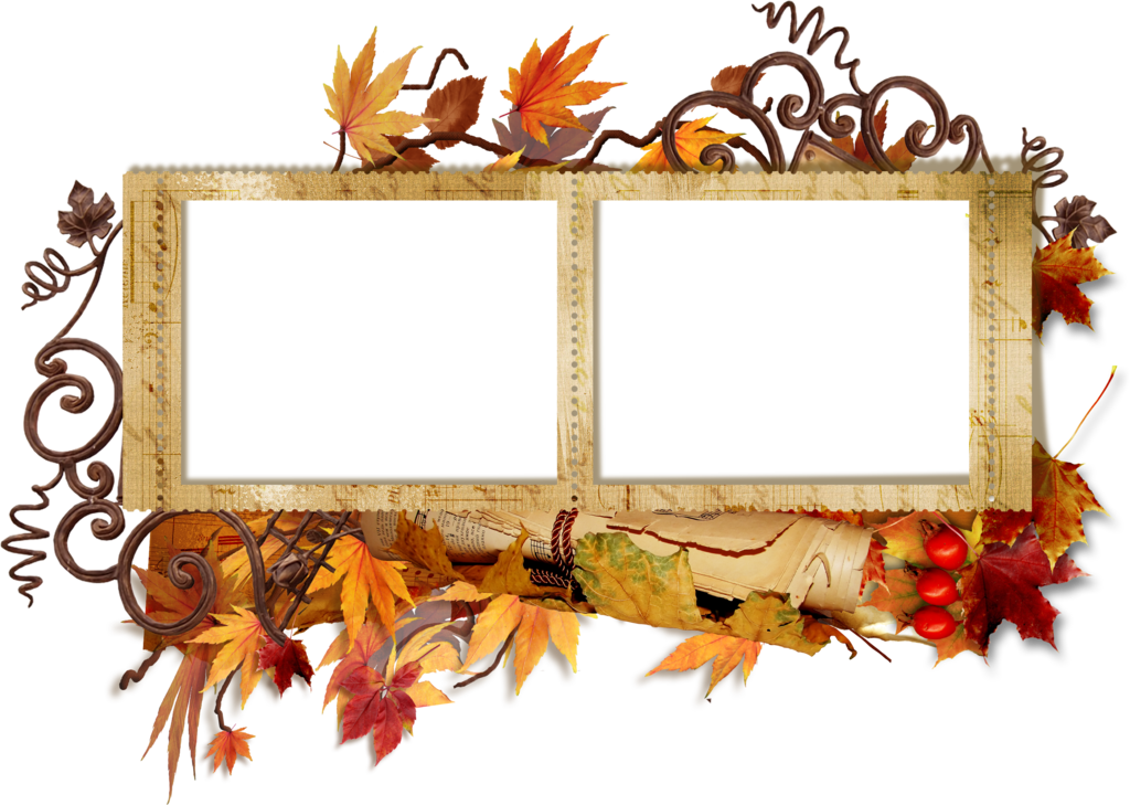 Double photo frame png. Transparent autumn gallery yopriceville