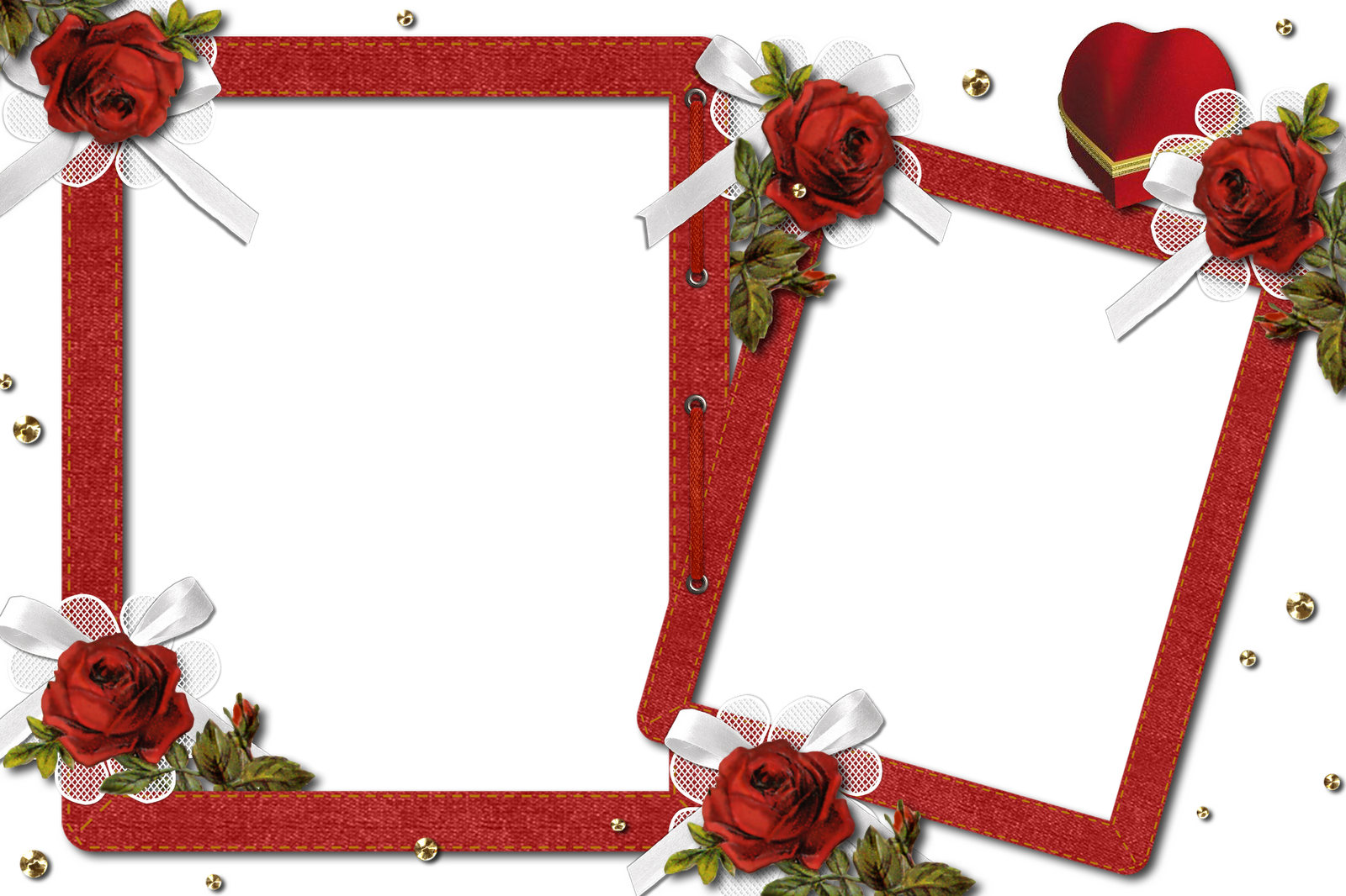 Double photo frame png. Romantic transparent with roses