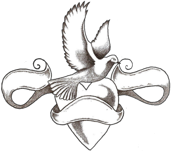 Heart and love tattoos. Doves tattoo black png png free