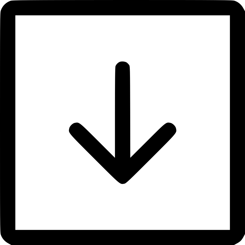 Download arrow icon png. Long square down svg