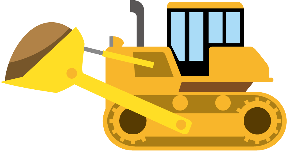 Backhoe vector animated. Bulldozer clipart library
