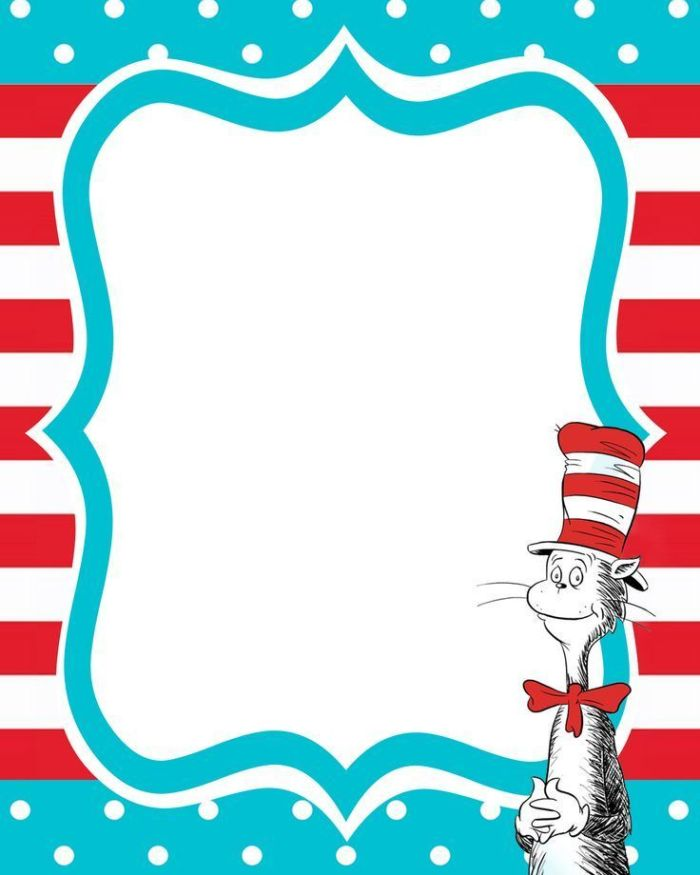Dr seuss clipart template. Frame free printable invitation
