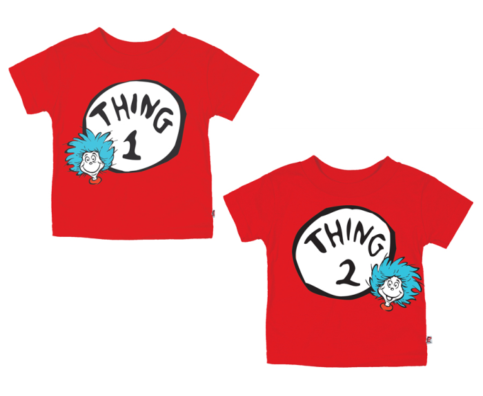 Dr seuss thing 1 and thing 2 png. Toddler tees for twins