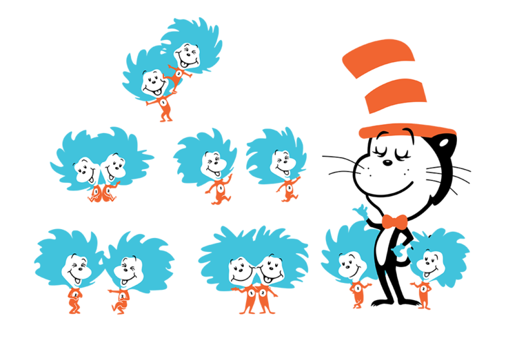 Dr seuss thing 1 and thing 2 png. The cat in hat