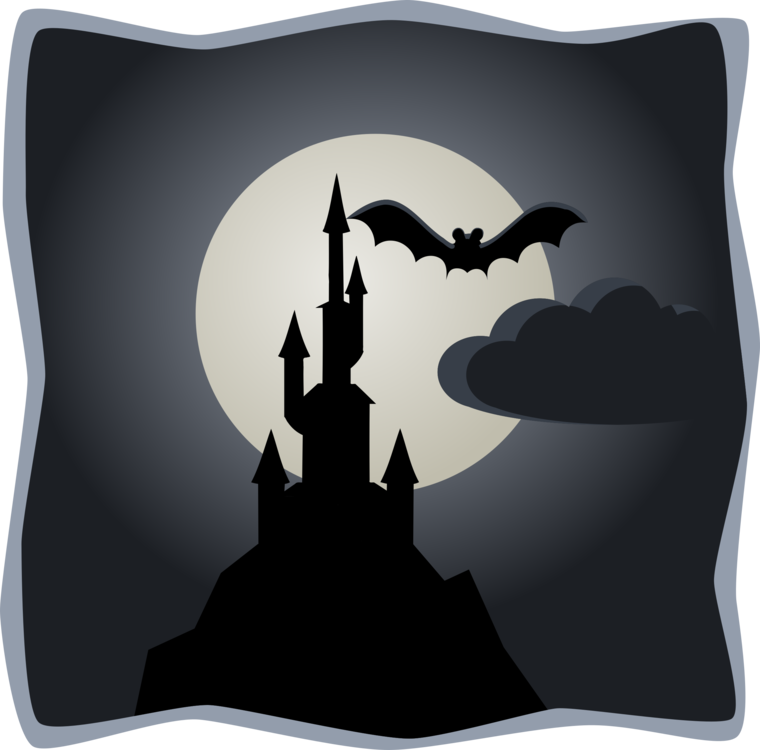 Haunted clipart moon. Cartoon castle house silhouette