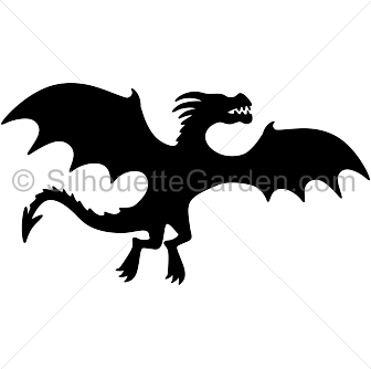 Dragon clip flying. Silhouette