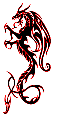 Dragon clip hand tattoo. Cool black and red