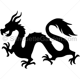 Dragon clip jpeg. Chinese silhouette art download