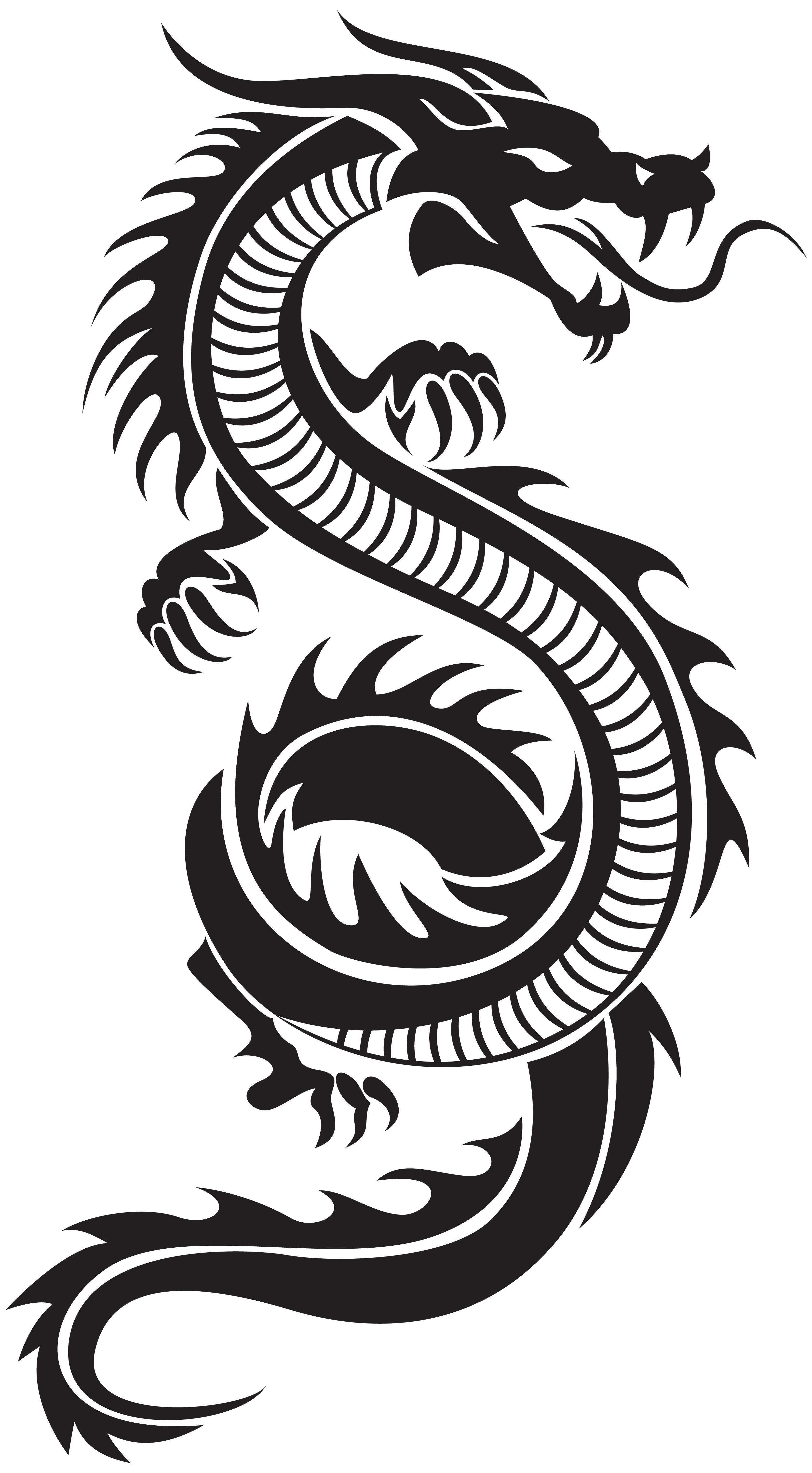 Dragon clip stencil. Chinese silhouette png art