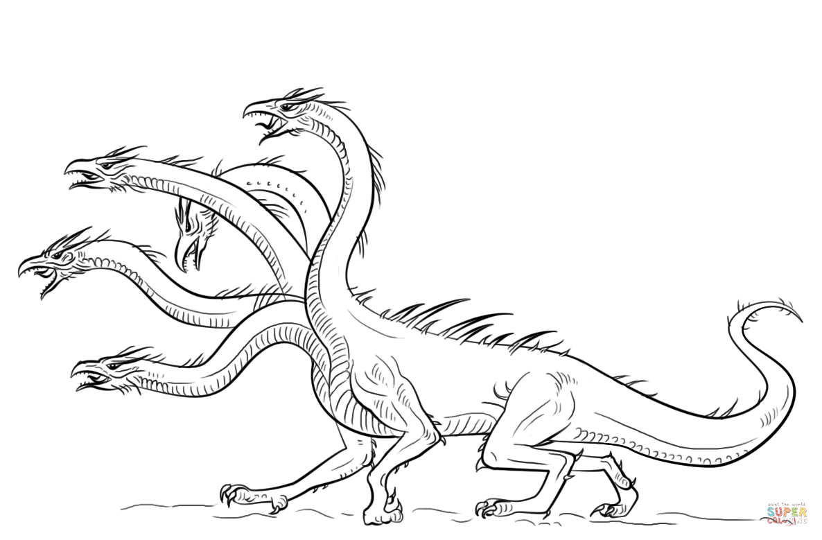 Dragon clipart hydra. Coloring page free printable