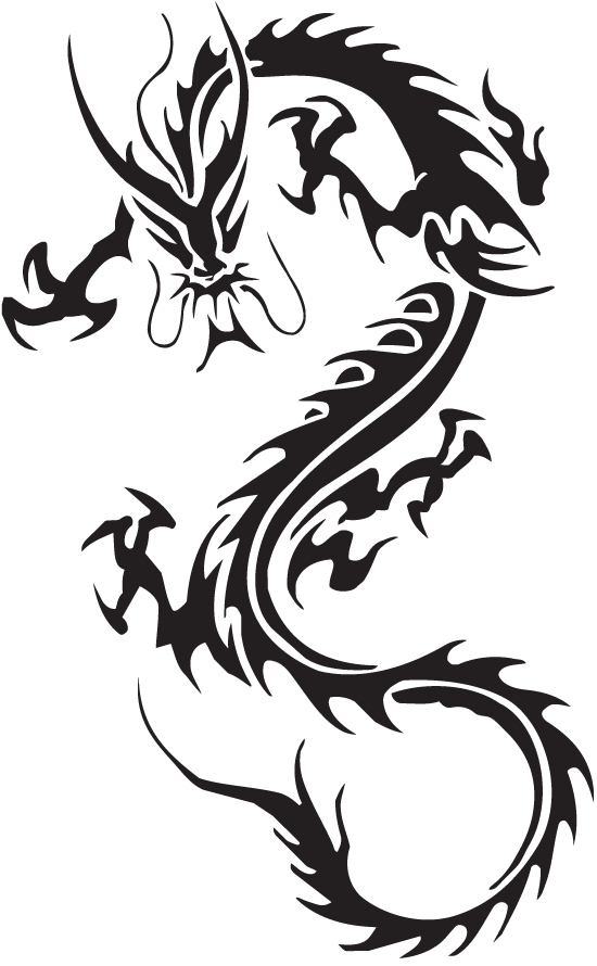 Dragon tribal tattoo png. Six isolated stock photo