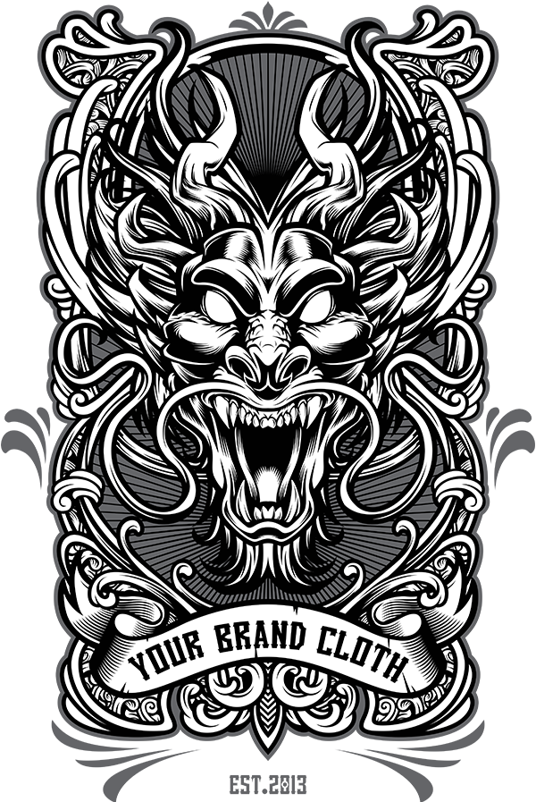 Dragon vector png. Tshirt design template on