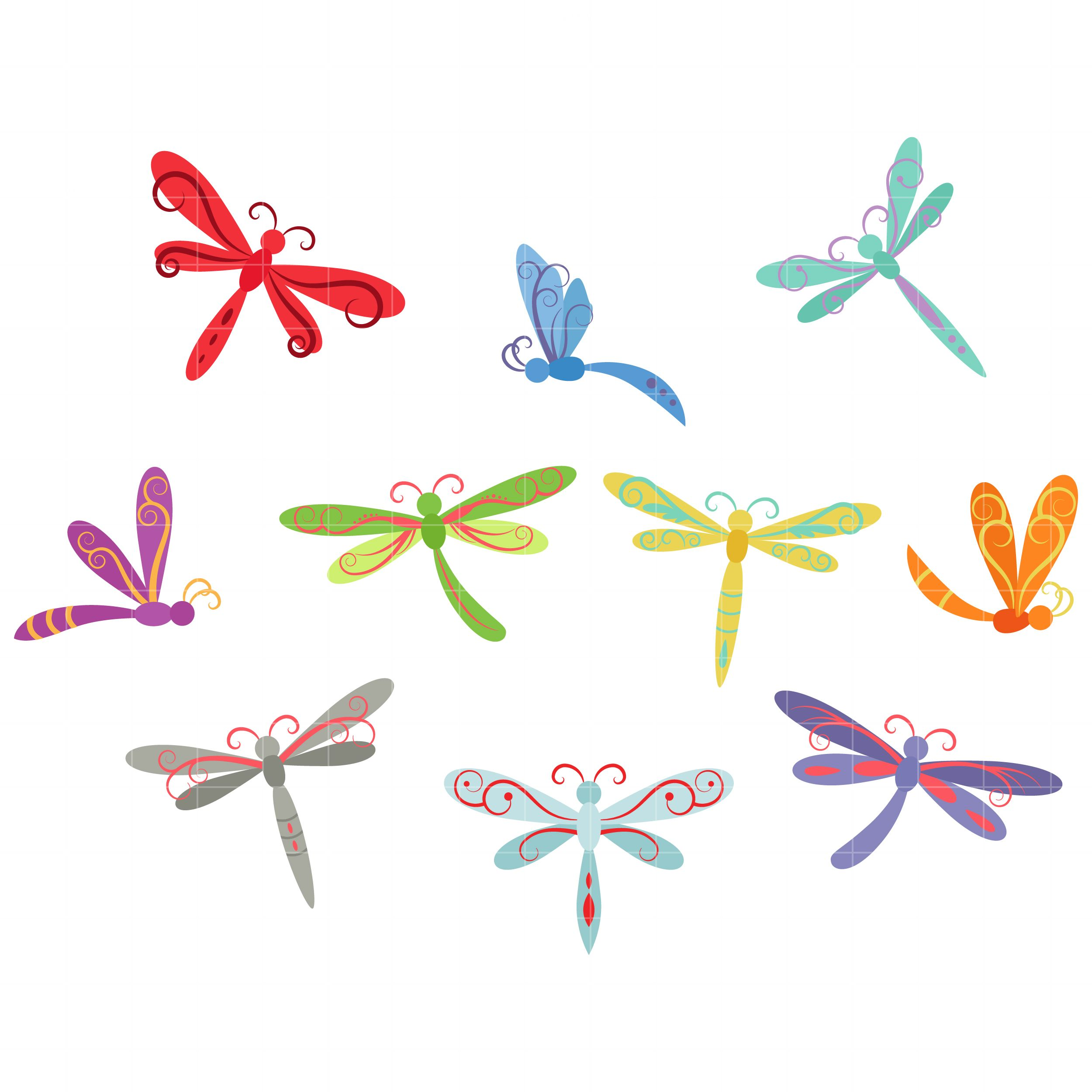 Dragonfly clipart whimsical. Dragonflies set semi exclusive