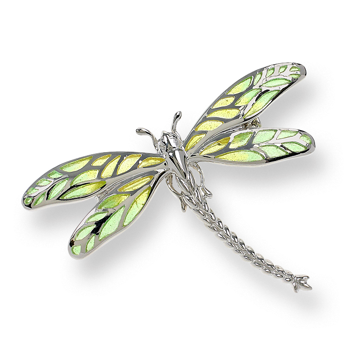 Dragonfly transparent enamel. Silver green brooches necklaces