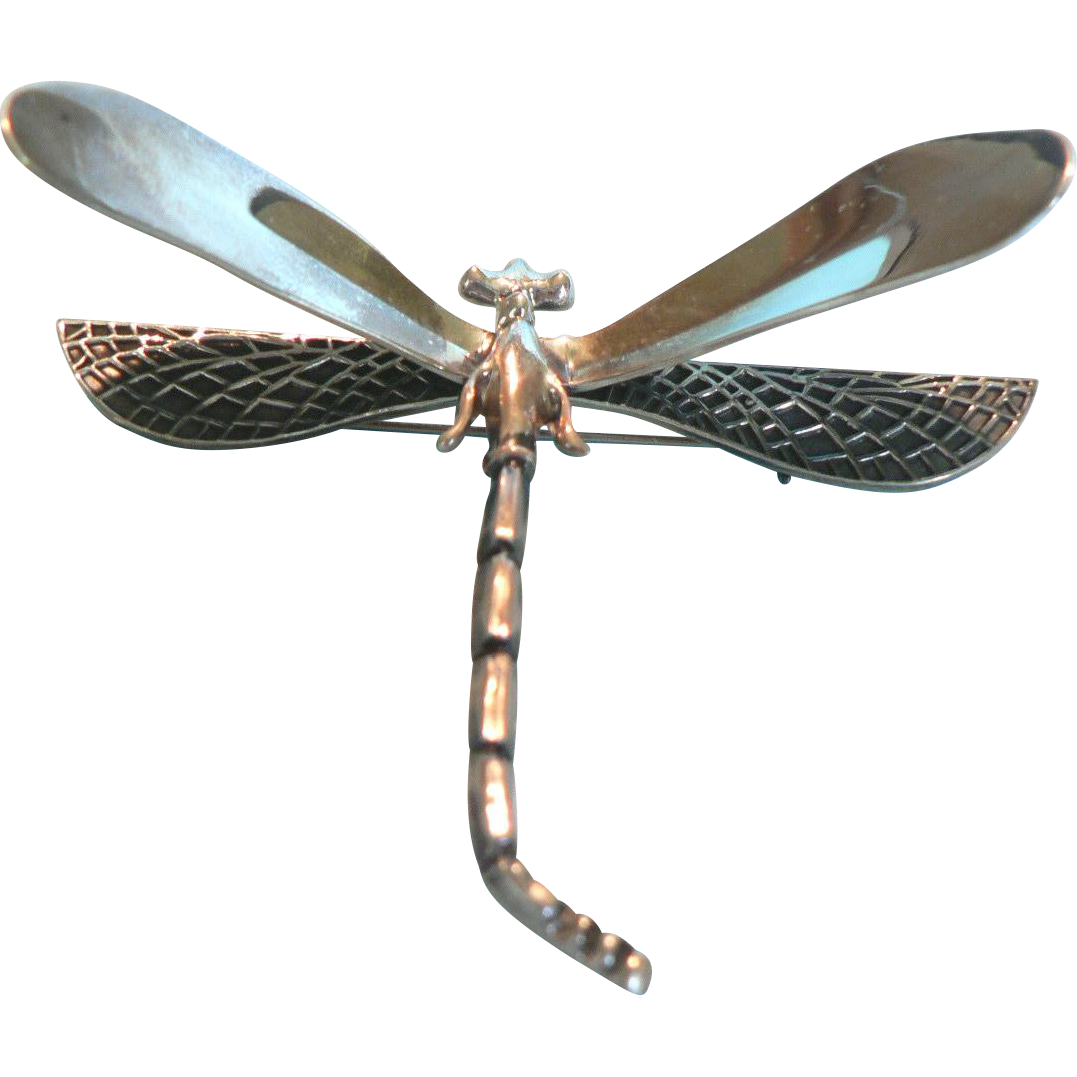 Dragonfly transparent vintage. Sterling silver mexican mexico