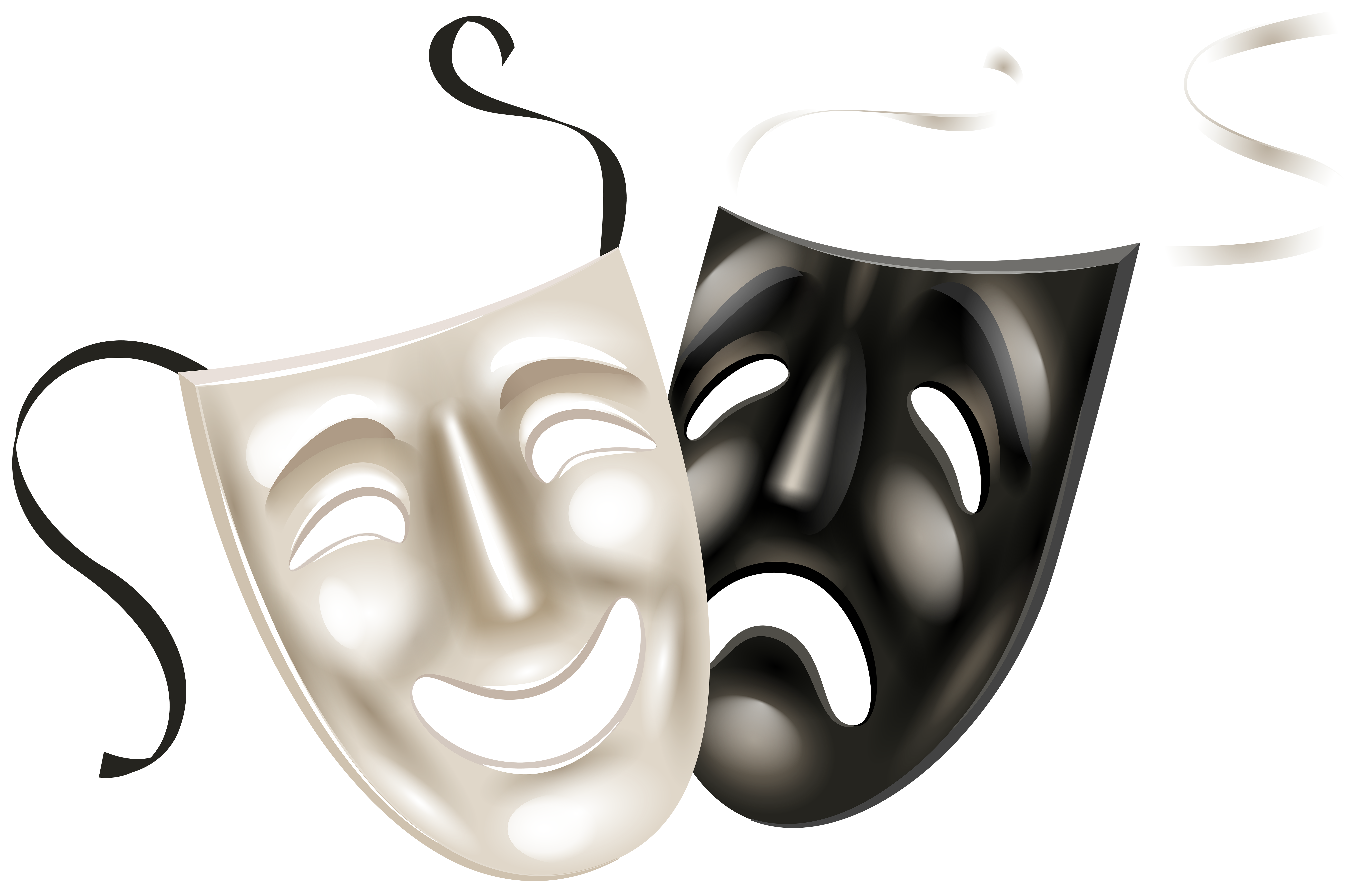 Theater masks clip art. Drama mask png banner black and white download