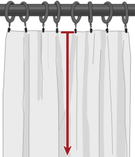 Drapery clip double chrome. Drapes measuring guide top