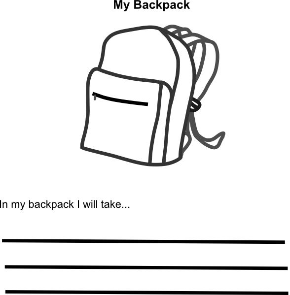 Draw clipart bag. Backpack drawing empty